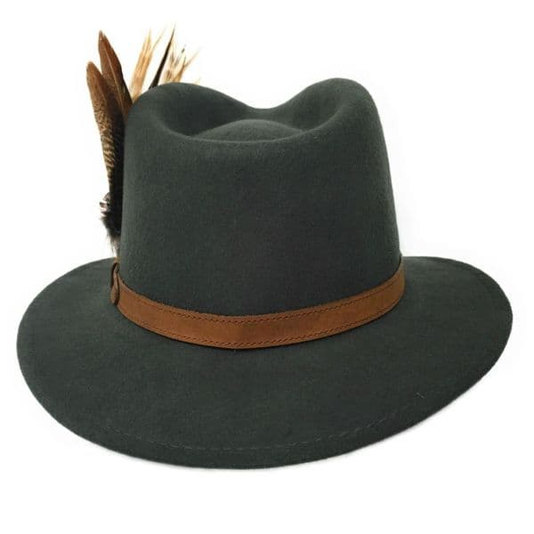 Womens  Wool Green Fedora Hat with Leather Belt Trim and Country Feather Brooch - Naunton